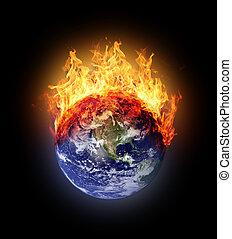 Burning earth globe west hemisphere (with gloving) (elements...