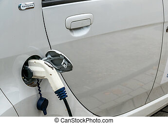 electric car charging station to symbol of ecology,...
