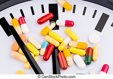 colorful capsules on dial - colorful capsules on a clock,...