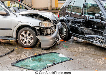damage to the bodywork of cars, symbol of accident,...