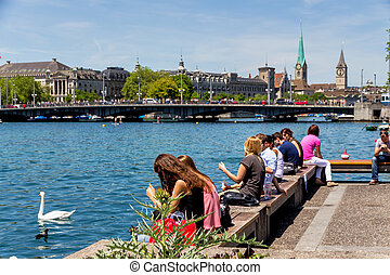 switzerland, zurich, limmat river, flowing into the lake of...
