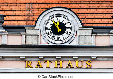 clock at the town hall, the symbol of an empty treasury in...