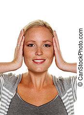 mulher, segurando, dela, orelhas,