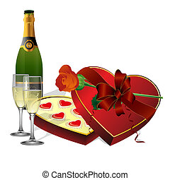 with holiday sweets, champagne and flowers roses - vector...
