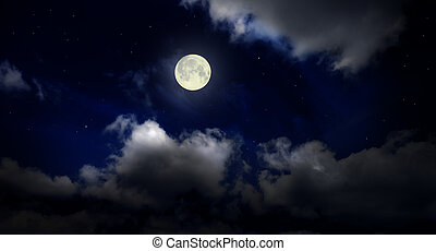 Night sky with moon - Night cloudy sky with moon