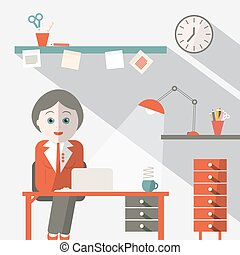 Secretary in Office Flat Design Vector Illustration