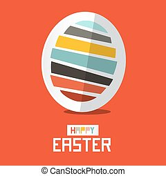 Easter Paper Vector Egg on Red Background