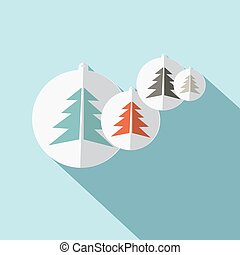Paper Trees Flat Design Vector Illustration