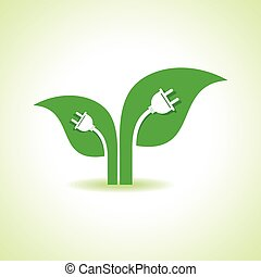 Leaf with electric plug - Ecology Concept - Leaf with...