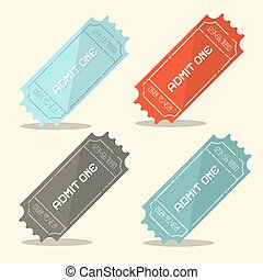 Admit One Vector Retro Ticket Set