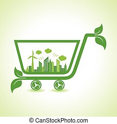 eco cityscape with shopping cart - Ecology Concept - eco...
