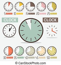 Retro Clock - Time Countdown Vector Set