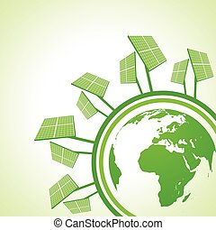 Solar panel with earth stock vector
