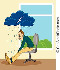 Man in depression - Vector illustration of a man in...