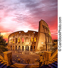 Colosseum during evening time in Rome, Italy - Famous...