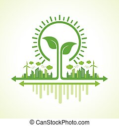 eco cityscape with leaf and bulb