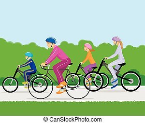 Family on bicycles - Vector illustration of a family on...