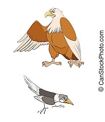 Magpie and eagle - Vector illustration of a two birds:...