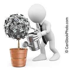 3D white people. Businessman watering a money plant - 3d...