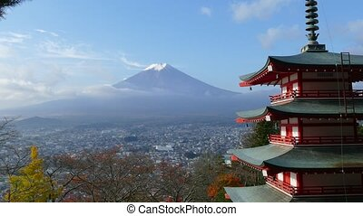 Image of the sacred mountain of Fuji in the background of...