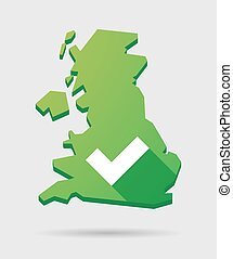 United Kingdom map icon with a check mark - Isolated United...