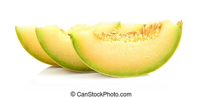 close-up shot Melon galia slices, pieces isolated white in...