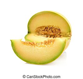 Melon galia notched with slice isolated white in studio -...