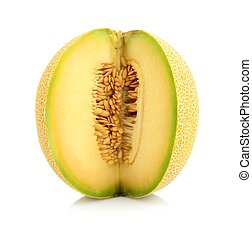 Melon galia notched with seeds isolated white in studio -...