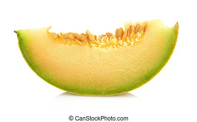 Melon galia slice, piece isolated white in studio - Studio...
