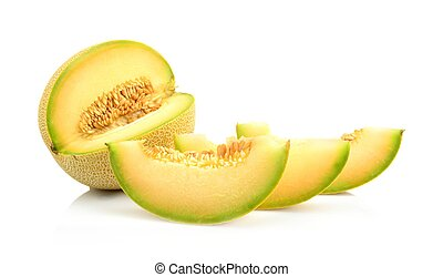 Closeup melon galia with slices isolated on white - Studio...