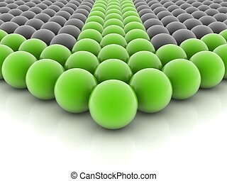 green spheres placed observably in a group of gray spheres.