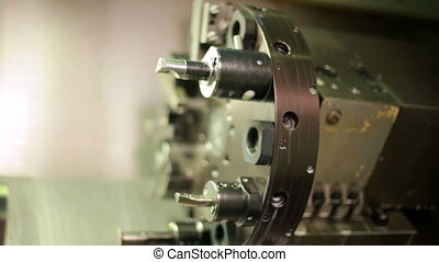 Lathe in operation closeup