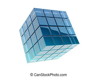 glass cubes on white background. digitally generated image