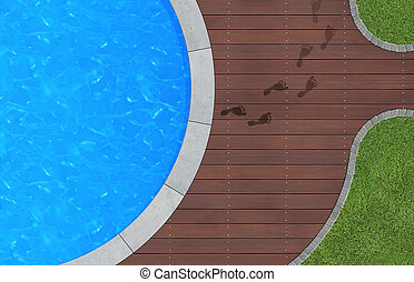 leaving the pool - summer holidays image with swimming pool...