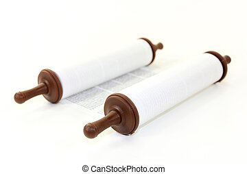 Torah scroll - a Torah scroll in front of white background