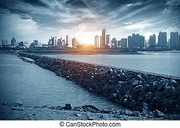 Chinese urban landscape - Huangpu River dam endless...