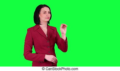 Business woman uses virtual screen - Business woman uses a...