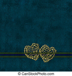 Two golden hearts greeting card - Blue background with two...