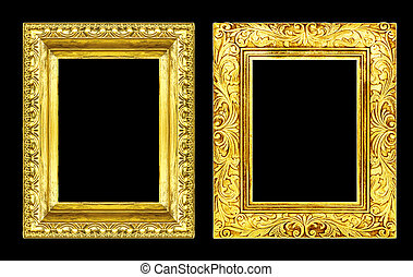 Set 2 antique golden frame isolated on black background, clippin