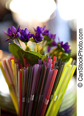 Straws - Colorful straws in a glass and plastic flowers