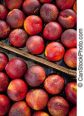 Nectarines on a market stall