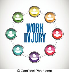 work injury people connection illustration design over a...
