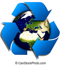 Earth with recycle signs - World globe or earth with recycle...