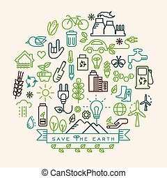 Ecology  vector icons