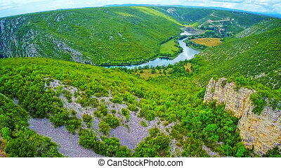 River Krka canyon aerial - Copter aerial view of the Krka...