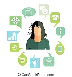 Businesswoman with work tasks, symbols