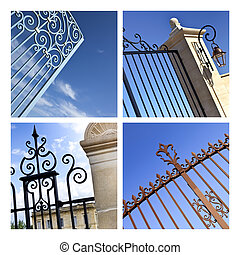 Gates - Collage of wrought iron gates