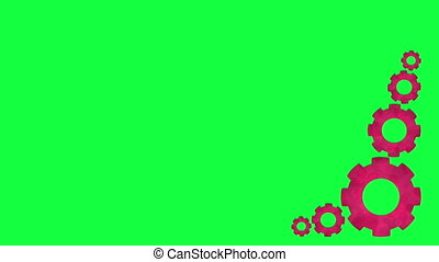 Gears spinning - Gears rotate on a green background