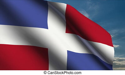 Dominican Republic Flag waving in wind with clouds in...