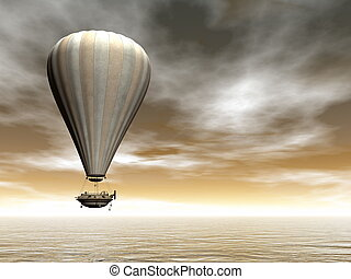 Hot air baloon - 3D render - Vintage hot air baloon floating...